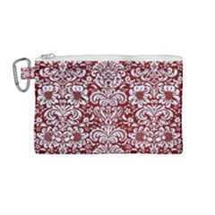 Damask2 White Marble & Red Grunge Canvas Cosmetic Bag (medium) by trendistuff
