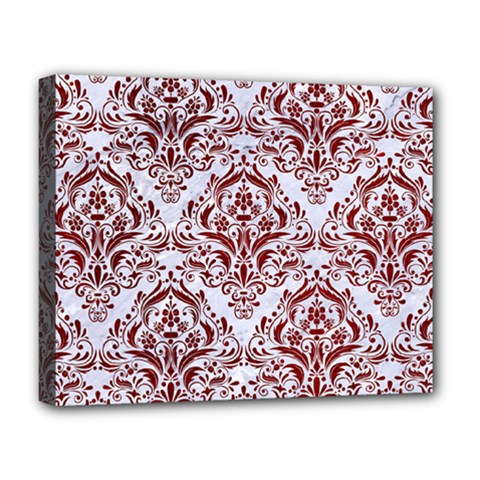 Damask1 White Marble & Red Grunge (r) Deluxe Canvas 20  X 16   by trendistuff