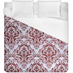 Damask1 White Marble & Red Grunge (r) Duvet Cover (king Size) by trendistuff