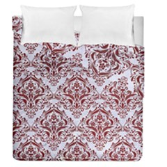 Damask1 White Marble & Red Grunge (r) Duvet Cover Double Side (queen Size) by trendistuff