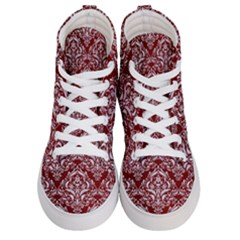 Damask1 White Marble & Red Grunge Women s Hi Top Skate Sneakers