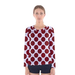Circles2 White Marble & Red Grunge (r) Women s Long Sleeve Tee