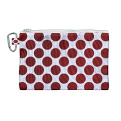 Circles2 White Marble & Red Grunge (r) Canvas Cosmetic Bag (large) by trendistuff