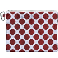 Circles2 White Marble & Red Grunge (r) Canvas Cosmetic Bag (xxxl) by trendistuff