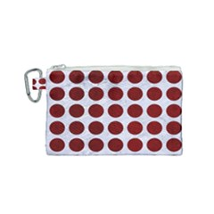 Circles1 White Marble & Red Grunge (r) Canvas Cosmetic Bag (small) by trendistuff