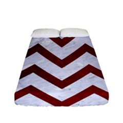 Chevron9 White Marble & Red Grunge (r) Fitted Sheet (full/ Double Size) by trendistuff