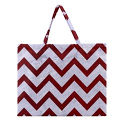 Chevron9 White Marble & Red Grunge (r) Zipper Large Tote Bag by trendistuff