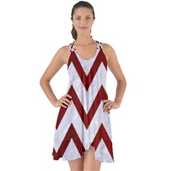 Chevron9 White Marble & Red Grunge (r) Show Some Back Chiffon Dress by trendistuff