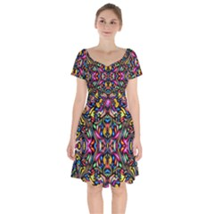Artwork By Patrick Colorful 24 1 Short Sleeve Bardot Dress