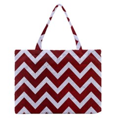 Chevron9 White Marble & Red Grunge Zipper Medium Tote Bag by trendistuff