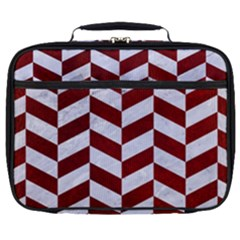 Chevron1 White Marble & Red Grunge Full Print Lunch Bag by trendistuff