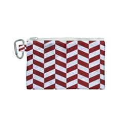 Chevron1 White Marble & Red Grunge Canvas Cosmetic Bag (small) by trendistuff