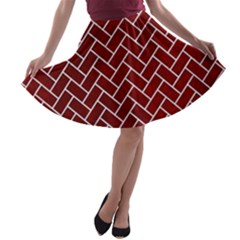 Brick2 White Marble & Red Grunge A Line Skater Skirt