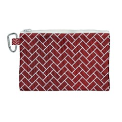 Brick2 White Marble & Red Grunge Canvas Cosmetic Bag (large) by trendistuff