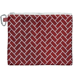 Brick2 White Marble & Red Grunge Canvas Cosmetic Bag (xxxl) by trendistuff