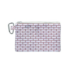 Brick1 White Marble & Red Grunge (r) Canvas Cosmetic Bag (small) by trendistuff