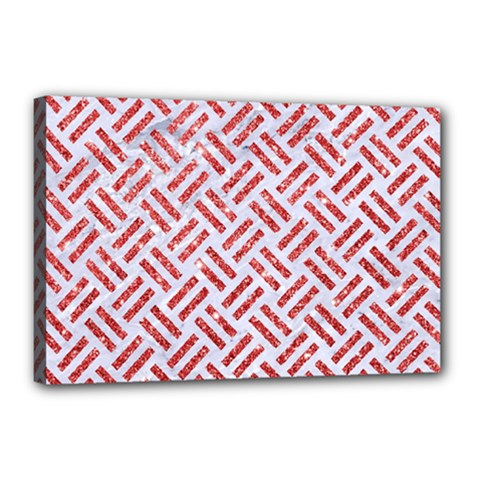 Woven2 White Marble & Red Glitter (r) Canvas 18  X 12  by trendistuff