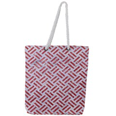 Woven2 White Marble & Red Glitter (r) Full Print Rope Handle Tote (large) by trendistuff