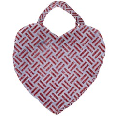Woven2 White Marble & Red Glitter (r) Giant Heart Shaped Tote by trendistuff