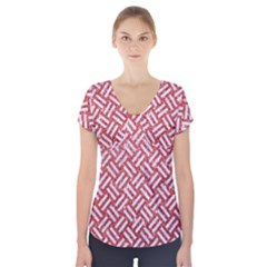 Woven2 White Marble & Red Glitter Short Sleeve Front Detail Top by trendistuff