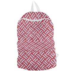 Woven2 White Marble & Red Glitter Foldable Lightweight Backpack
