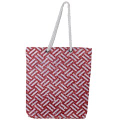 Woven2 White Marble & Red Glitter Full Print Rope Handle Tote (large) by trendistuff
