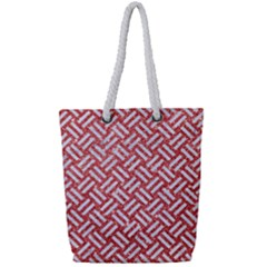 Woven2 White Marble & Red Glitter Full Print Rope Handle Tote (small) by trendistuff