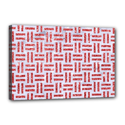 Woven1 White Marble & Red Glitter (r) Canvas 18  X 12  by trendistuff
