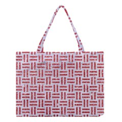 Woven1 White Marble & Red Glitter (r) Medium Tote Bag by trendistuff