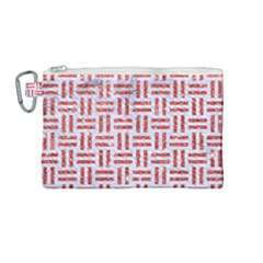 Woven1 White Marble & Red Glitter (r) Canvas Cosmetic Bag (medium) by trendistuff