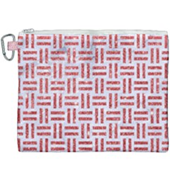 Woven1 White Marble & Red Glitter (r) Canvas Cosmetic Bag (xxxl) by trendistuff