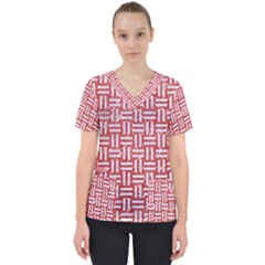 Woven1 White Marble & Red Glitter Scrub Top
