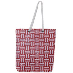 Woven1 White Marble & Red Glitter Full Print Rope Handle Tote (large) by trendistuff