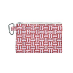Woven1 White Marble & Red Glitter Canvas Cosmetic Bag (small) by trendistuff