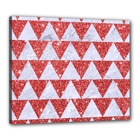 Triangle2 White Marble & Red Glitter Canvas 24  X 20  by trendistuff