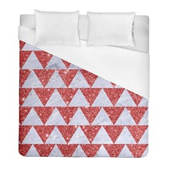 Triangle2 White Marble & Red Glitter Duvet Cover (full/ Double Size) by trendistuff