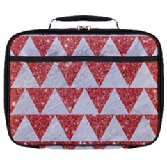 Triangle2 White Marble & Red Glitter Full Print Lunch Bag by trendistuff