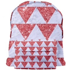 Triangle2 White Marble & Red Glitter Giant Full Print Backpack by trendistuff
