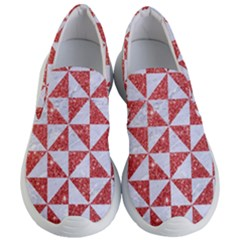 Triangle1 White Marble & Red Glitter Women s Lightweight Slip Ons