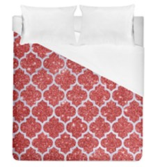 Tile1 White Marble & Red Glitter Duvet Cover (queen Size) by trendistuff