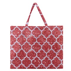 Tile1 White Marble & Red Glitter Zipper Large Tote Bag by trendistuff