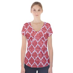 Tile1 White Marble & Red Glitter Short Sleeve Front Detail Top by trendistuff