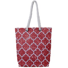Tile1 White Marble & Red Glitter Full Print Rope Handle Tote (small) by trendistuff