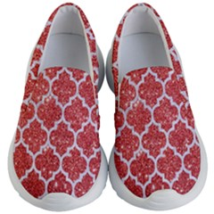 Tile1 White Marble & Red Glitter Kid s Lightweight Slip Ons