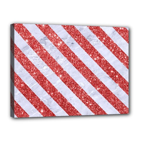Stripes3 White Marble & Red Glitter White Marble & Red Glitter Canvas 16  X 12  by trendistuff