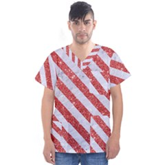 Stripes3 White Marble & Red Glitter White Marble & Red Glitter Men s V Neck Scrub Top by trendistuff