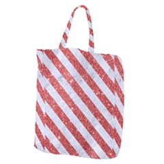 Stripes3 White Marble & Red Glitter White Marble & Red Glitter Giant Grocery Zipper Tote by trendistuff