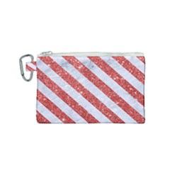 Stripes3 White Marble & Red Glitter White Marble & Red Glitter Canvas Cosmetic Bag (small)
