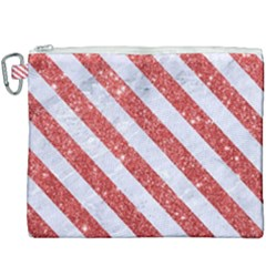 Stripes3 White Marble & Red Glitter White Marble & Red Glitter Canvas Cosmetic Bag (xxxl)