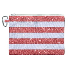 Stripes2white Marble & Red Glitter Canvas Cosmetic Bag (xl)